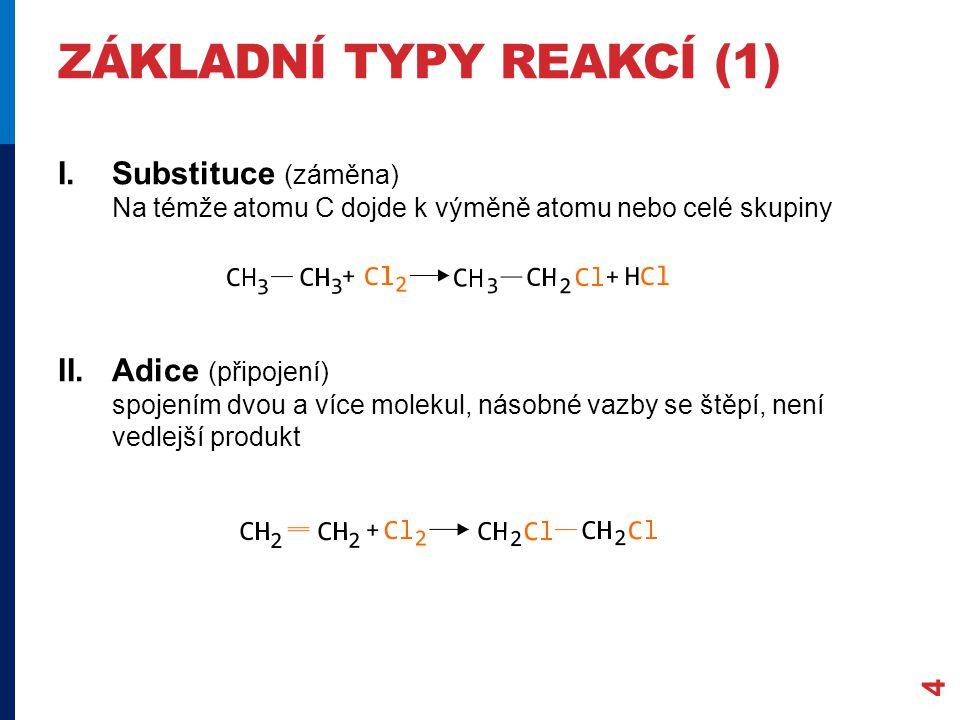 ZÁKLADNÍ TYPY REAKCÍ (1) I.Substituce (záměna) Na témže atomu C dojde k výměně atomu nebo celé skupiny II.Adice (připojení) spojením dvou a více molekul, násobné vazby se štěpí, není vedlejší produkt 4