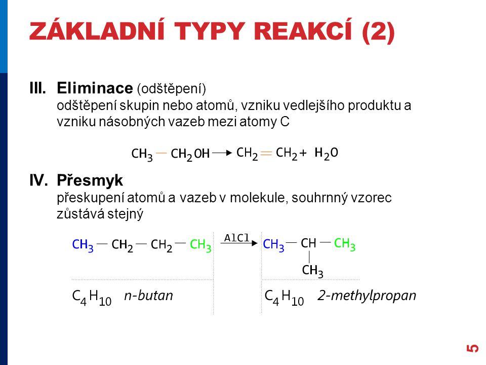 ZÁKLADNÍ TYPY REAKCÍ (2) III.Eliminace (odštěpení) odštěpení skupin nebo atomů, vzniku vedlejšího produktu a vzniku násobných vazeb mezi atomy C IV.Přesmyk přeskupení atomů a vazeb v molekule, souhrnný vzorec zůstává stejný 5