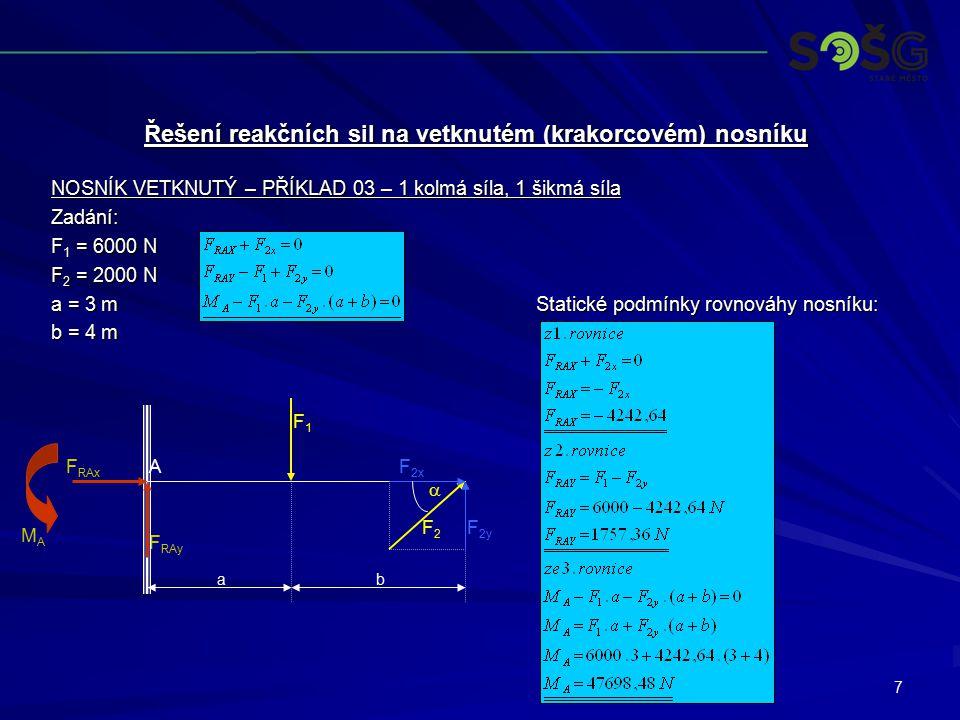 7 NOSNÍK VETKNUTÝ – PŘÍKLAD 03 – 1 kolmá síla, 1 šikmá síla Zadání: F 1 = 6000 N F 2 = 2000 N a = 3 m Statické podmínky rovnováhy nosníku: b = 4 m Řeš