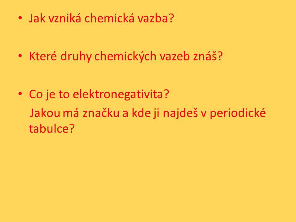Jak vzniká chemická vazba. Které druhy chemických vazeb znáš.