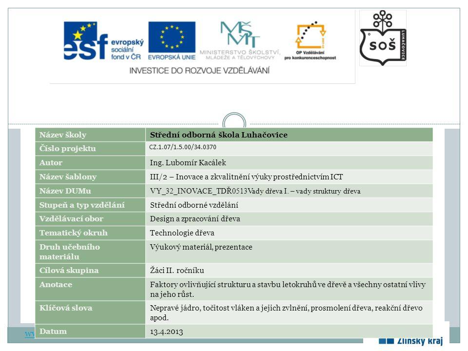 www.zlinskedumy.cz Název školyStřední odborná škola Luhačovice Číslo projektu CZ.1.07/1.5.00/34.0370 AutorIng.