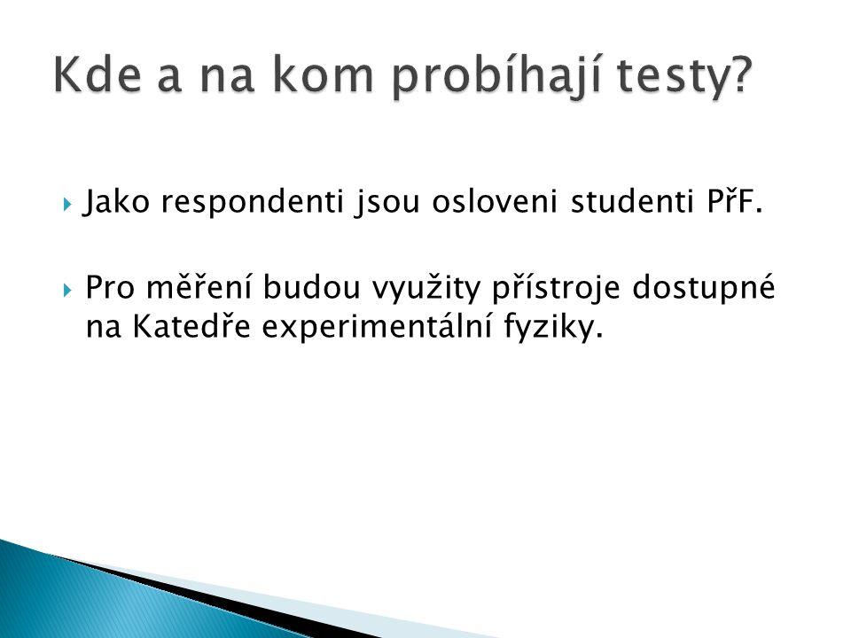  Jako respondenti jsou osloveni studenti PřF.  Pro měření budou využity přístroje dostupné na Katedře experimentální fyziky.
