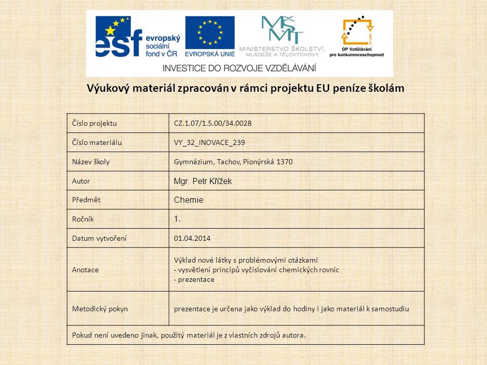 Číslo projektuCZ.1.07/1.5.00/34.0028 Číslo materiáluVY_32_INOVACE_239 Název školyGymnázium, Tachov, Pionýrská 1370 Autor Mgr.