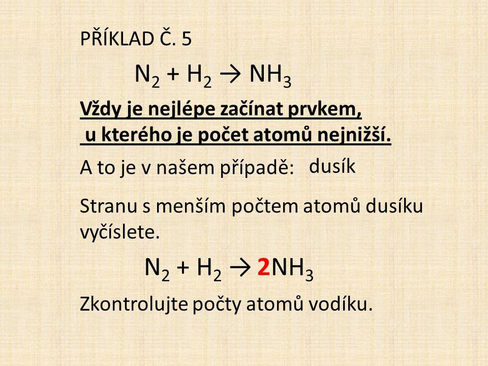 PŘÍKLAD Č. 5 N 2 + H 2 → NH 3 Stranu s menším počtem atomů dusíku vyčíslete. Vždy je nejlépe začínat prvkem, u kterého je počet atomů nejnižší. dusík