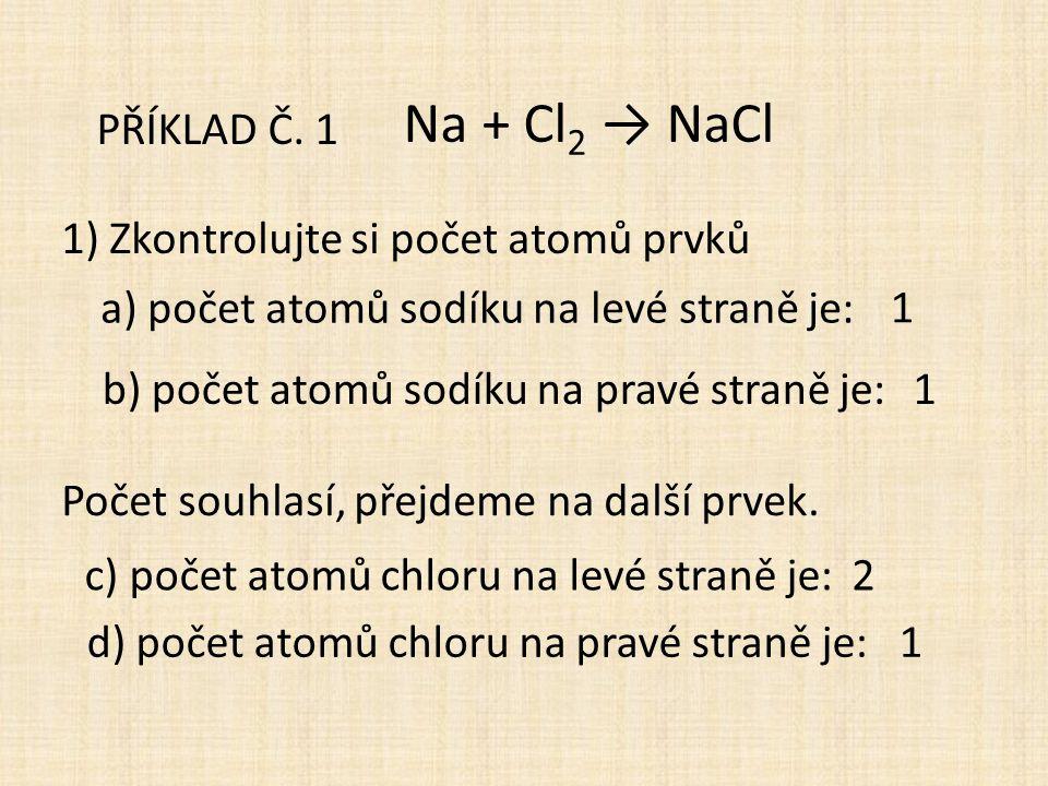 PŘÍKLAD Č. 1 Na + Cl 2 → NaCl 1) Zkontrolujte si počet atomů prvků a) počet atomů sodíku na levé straně je: b) počet atomů sodíku na pravé straně je: