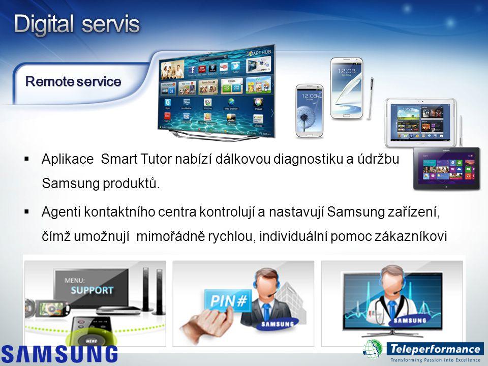 Remote service  Aplikace Smart Tutor nabízí dálkovou diagnostiku a údržbu Samsung produktů.  Agenti kontaktního centra kontrolují a nastavují Samsun