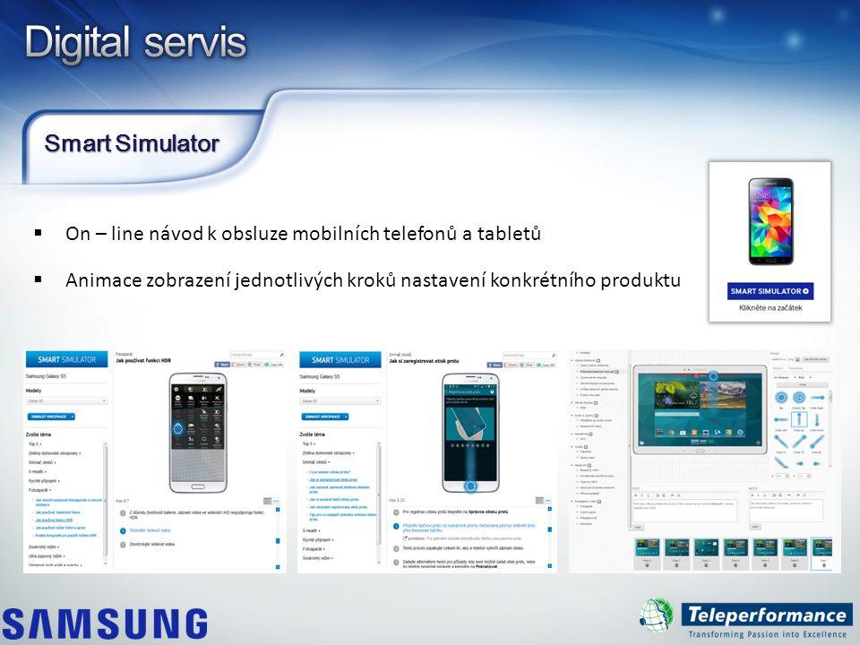Smart Simulator  On – line návod k obsluze mobilních telefonů a tabletů  Animace zobrazení jednotlivých kroků nastavení konkrétního produktu