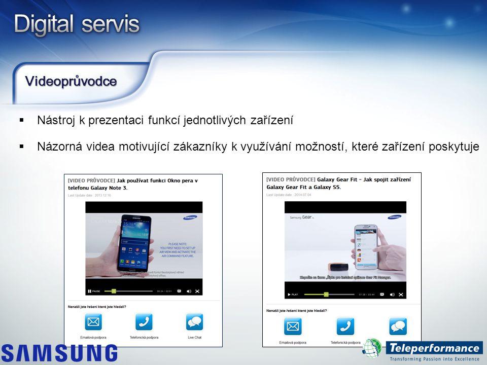 Videoprůvodce  Nástroj k prezentaci funkcí jednotlivých zařízení  Názorná videa motivující zákazníky k využívání možností, které zařízení poskytuje