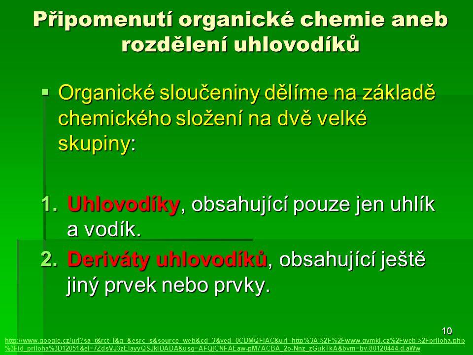 Připomenutí organické chemie aneb rozdělení uhlovodíků  Organické sloučeniny dělíme na základě chemického složení na dvě velké skupiny: 1.Uhlovodíky,