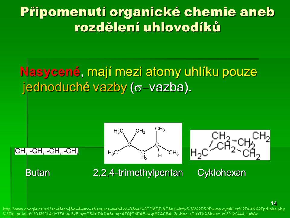 14 Připomenutí organické chemie aneb rozdělení uhlovodíků http://www.google.cz/url?sa=t&rct=j&q=&esrc=s&source=web&cd=3&ved=0CDMQFjAC&url=http%3A%2F%2