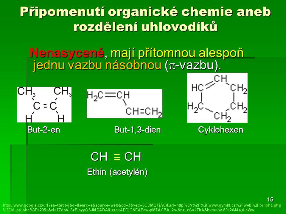 15 Připomenutí organické chemie aneb rozdělení uhlovodíků http://www.google.cz/url?sa=t&rct=j&q=&esrc=s&source=web&cd=3&ved=0CDMQFjAC&url=http%3A%2F%2