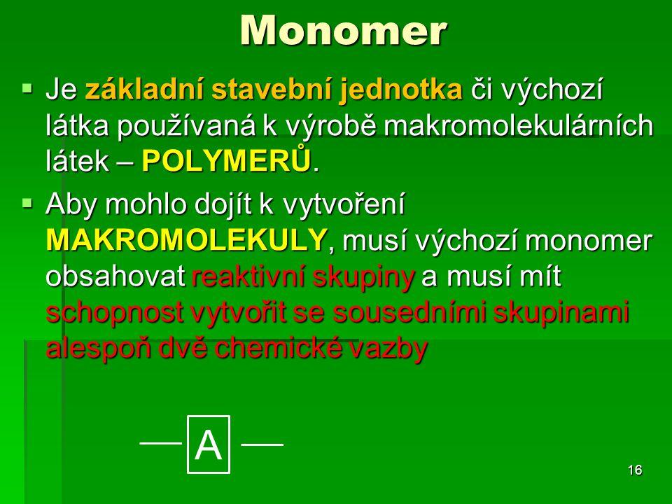 Monomer  Je základní stavební jednotka či výchozí látka používaná k výrobě makromolekulárních látek – POLYMERŮ.  Aby mohlo dojít k vytvoření MAKROMO