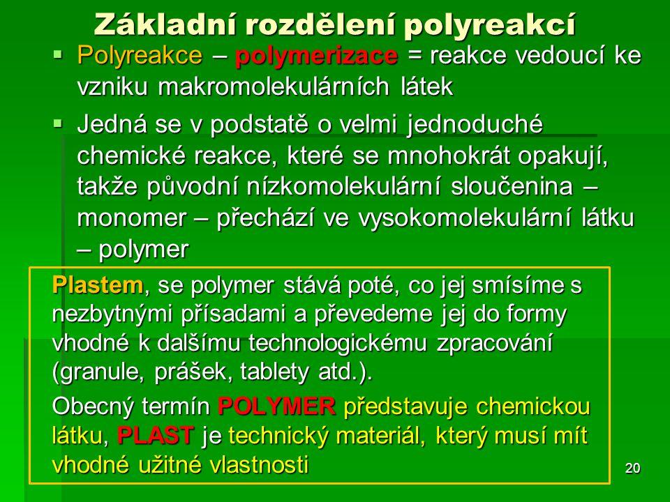 Základní rozdělení polyreakcí  Polyreakce – polymerizace = reakce vedoucí ke vzniku makromolekulárních látek  Jedná se v podstatě o velmi jednoduché