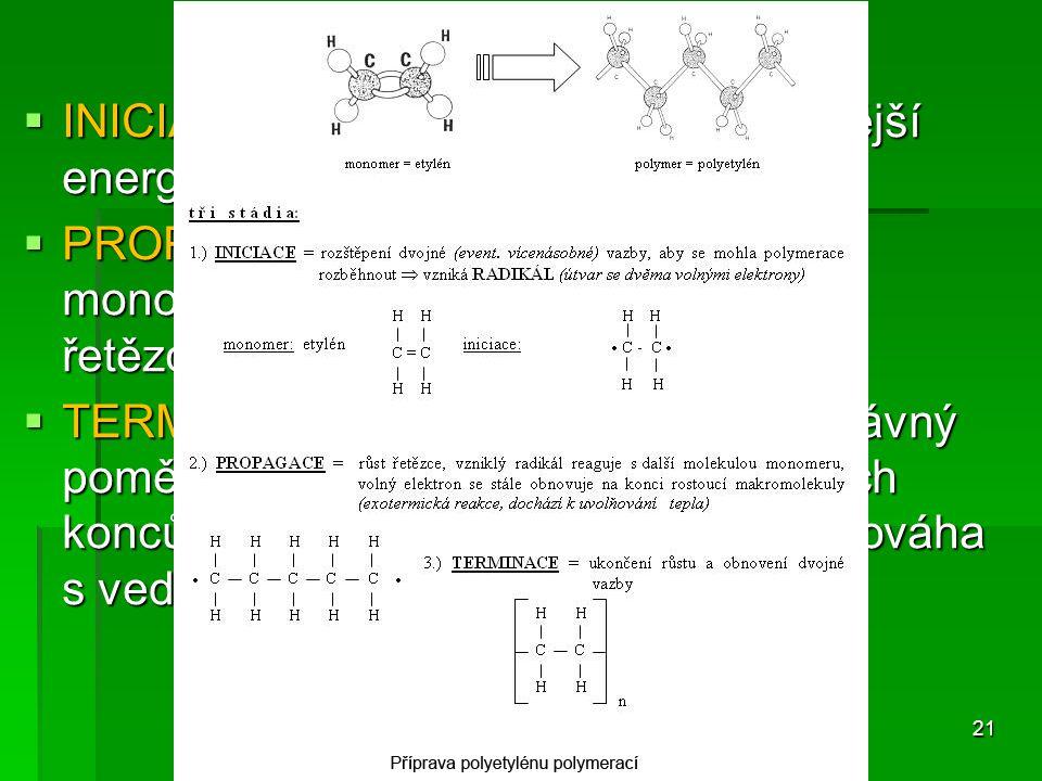 Reakční stupně  INICIACE – zahájení růstu řetězce (vnější energie, světlo, teplo, PH, katalyzátor)  PROPAGACE – růst makromolekuly – monomery se spo