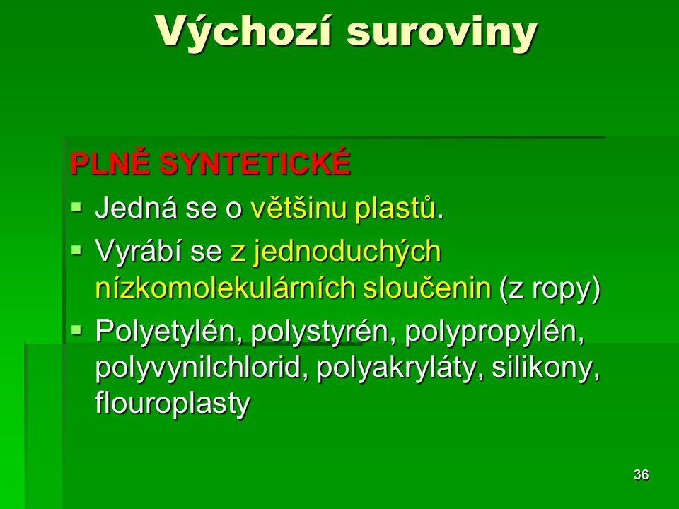 PLNĚ SYNTETICKÉ  Jedná se o většinu plastů.  Vyrábí se z jednoduchých nízkomolekulárních sloučenin (z ropy)  Polyetylén, polystyrén, polypropylén,