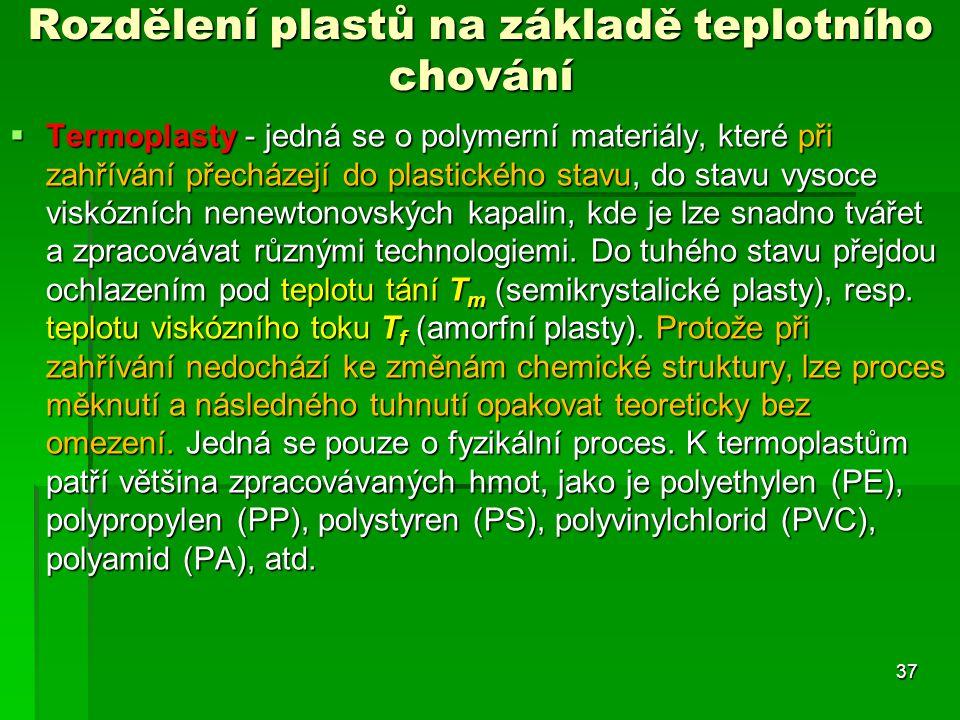 Rozdělení plastů na základě teplotního chování  Termoplasty - jedná se o polymerní materiály, které při zahřívání přecházejí do plastického stavu, do