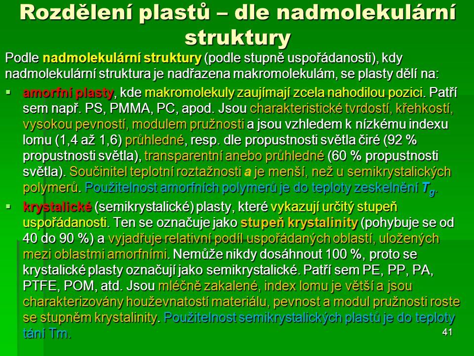Podle nadmolekulární struktury (podle stupně uspořádanosti), kdy nadmolekulární struktura je nadřazena makromolekulám, se plasty dělí na:  amorfní pl