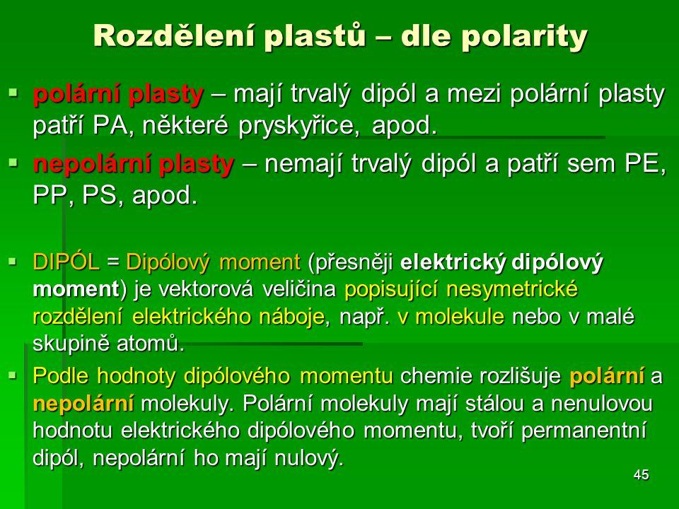  polární plasty – mají trvalý dipól a mezi polární plasty patří PA, některé pryskyřice, apod.  nepolární plasty – nemají trvalý dipól a patří sem PE