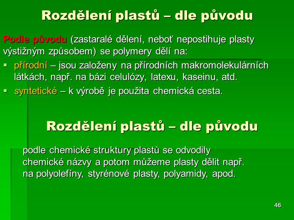 Podle původu (zastaralé dělení, neboť nepostihuje plasty výstižným způsobem) se polymery dělí na:  přírodní – jsou založeny na přírodních makromoleku
