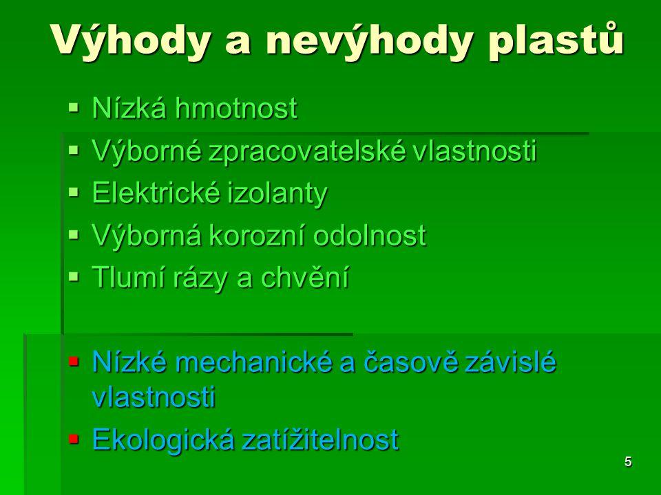 Výhody a nevýhody plastů  Nízká hmotnost  Výborné zpracovatelské vlastnosti  Elektrické izolanty  Výborná korozní odolnost  Tlumí rázy a chvění 