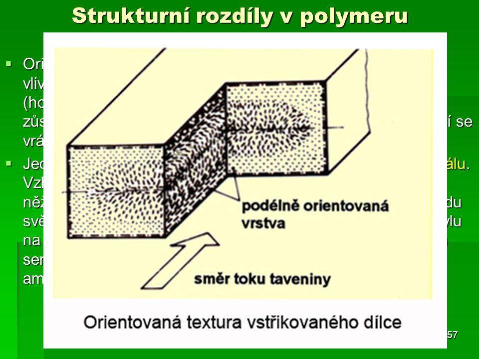  Orientace makromolekul na povrchu vstřikovaného dílce je vlivem vysokých vstřikovacích sil ve směru toku taveniny (hovoříme o tzv. orientační textuř