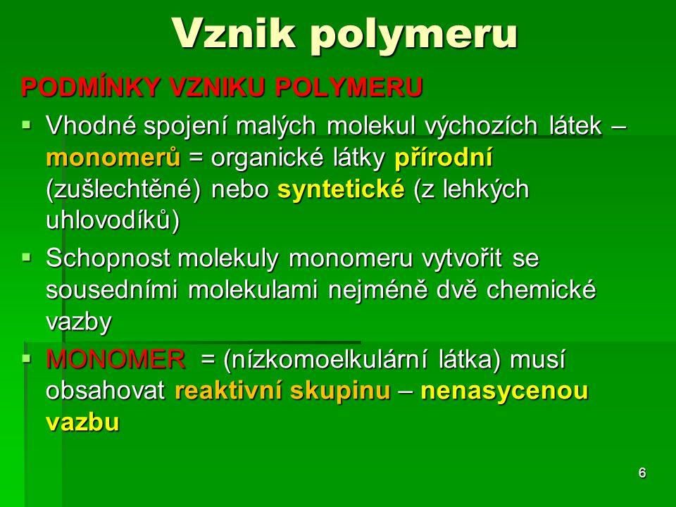 Vznik polymeru PODMÍNKY VZNIKU POLYMERU  Vhodné spojení malých molekul výchozích látek – monomerů = organické látky přírodní (zušlechtěné) nebo synte