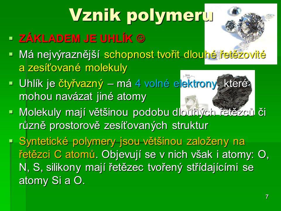 Vznik polymeru  ZÁKLADEM JE UHLÍK  ZÁKLADEM JE UHLÍK  Má nejvýraznější schopnost tvořit dlouhé řetězovité a zesíťované molekuly  Uhlík je čtyřvazn