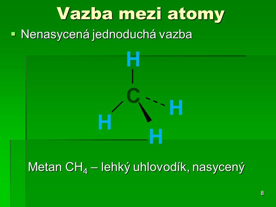 Vazba mezi atomy  Nenasycená jednoduchá vazba 8 Metan CH 4 – lehký uhlovodík, nasycený C H H H H