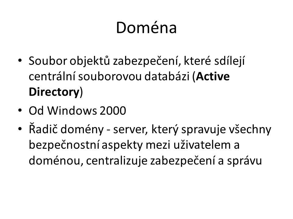 Active Directory Implementace adresářových služeb LDAP firmou Microsoft pro použití v prostředí systému Microsoft Windows Umožňuje administrátorům nastavovat politiku, instalovat programy na mnoho počítačů nebo aplikovat kritické aktualizace v celé organizační struktuře