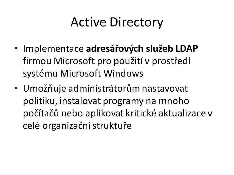 LDAP Lightweight Directory Access Protocol Protokol pro ukládání a přístup k datům na adresářovém serveru, uložených ve stromové struktuře Klient-server Autentizace klienta Záznam, atribut, schéma