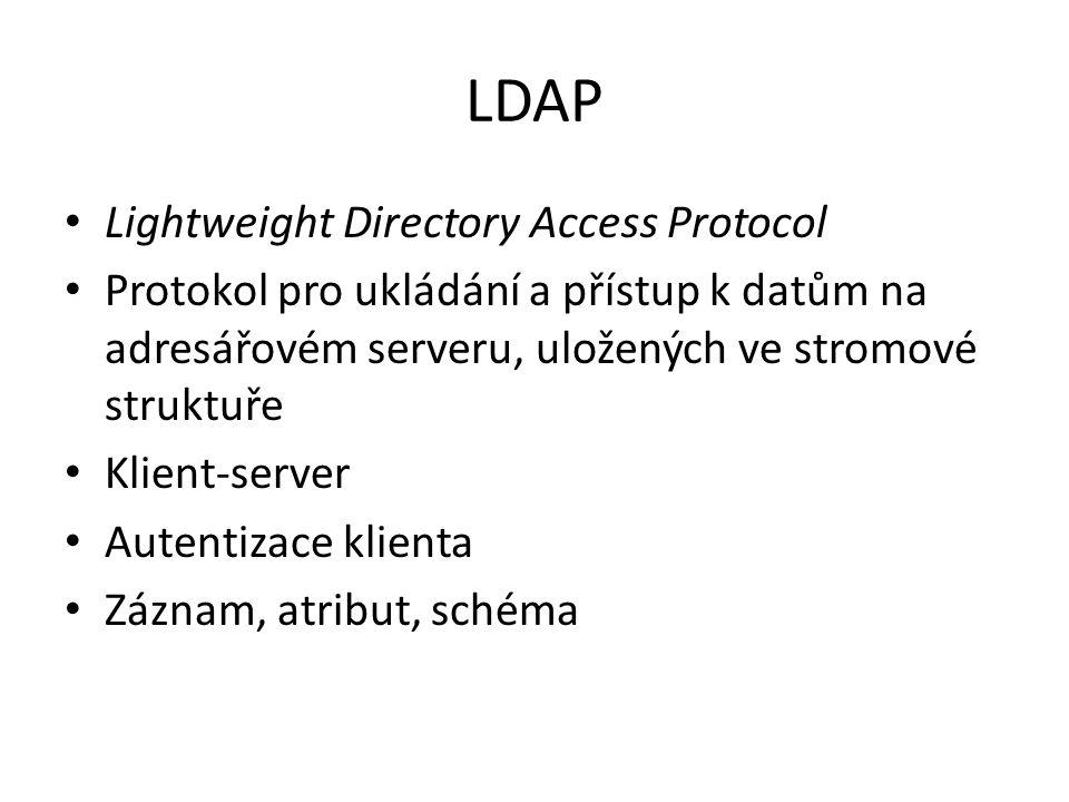 Active Directory vyžaduje instalaci služby DNS je založena na standardních internetových protokolech jednoznačně definuje strukturu sítě organizuje skupiny počítačů a domén