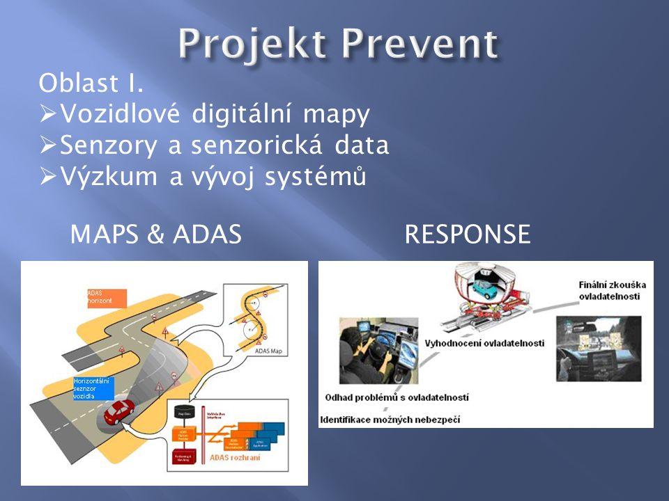 Oblast I.  Vozidlové digitální mapy  Senzory a senzorická data  Výzkum a vývoj systém ů MAPS & ADASRESPONSE