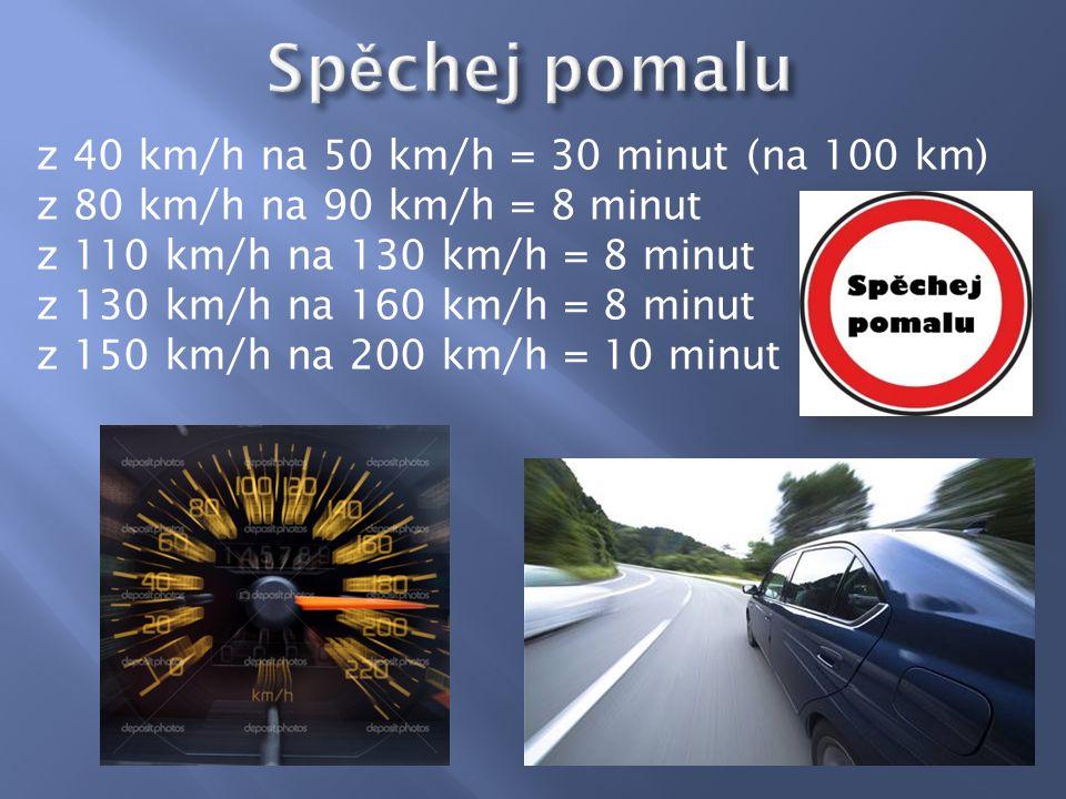 z 40 km/h na 50 km/h = 30 minut (na 100 km) z 80 km/h na 90 km/h = 8 minut z 110 km/h na 130 km/h = 8 minut z 130 km/h na 160 km/h = 8 minut z 150 km/h na 200 km/h = 10 minut