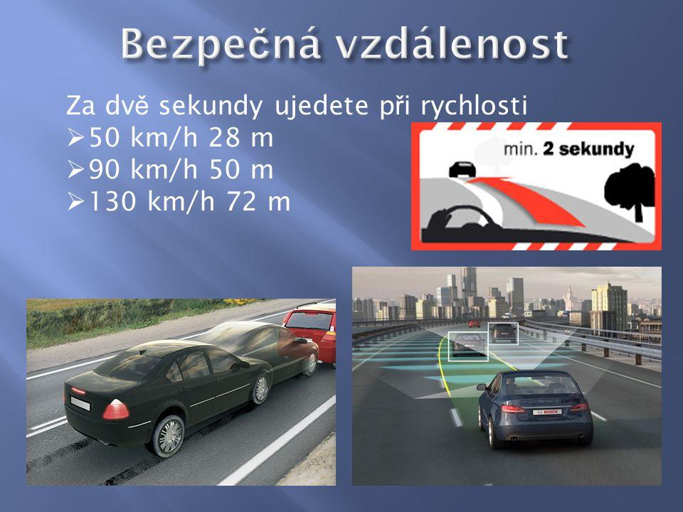 Za dv ě sekundy ujedete p ř i rychlosti  50 km/h 28 m  90 km/h 50 m  130 km/h 72 m