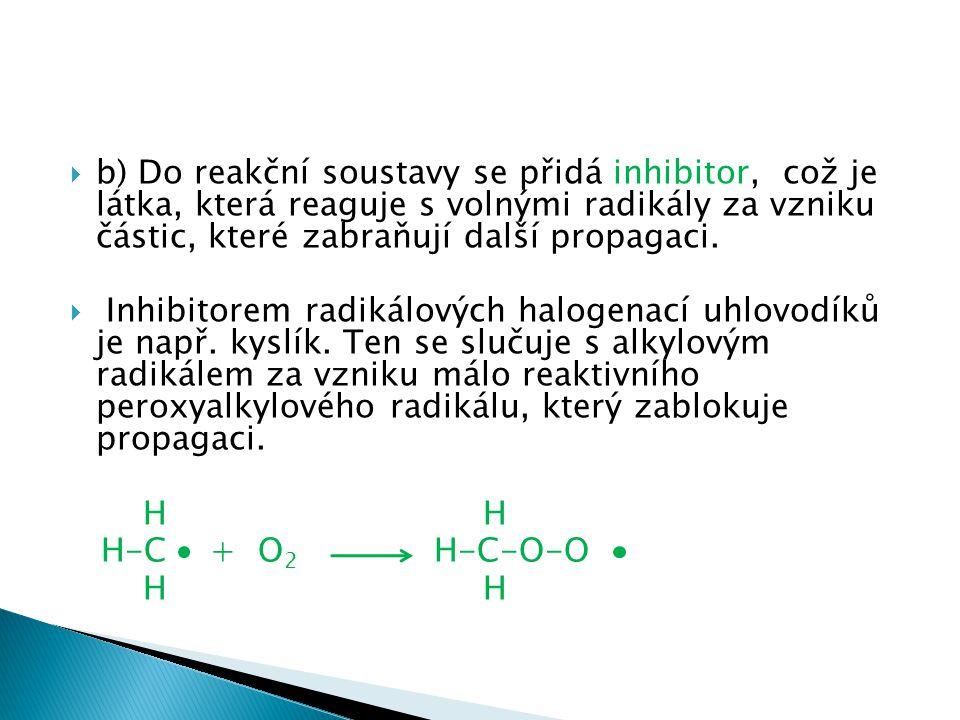  b) Do reakční soustavy se přidá inhibitor, což je látka, která reaguje s volnými radikály za vzniku částic, které zabraňují další propagaci.  Inhib
