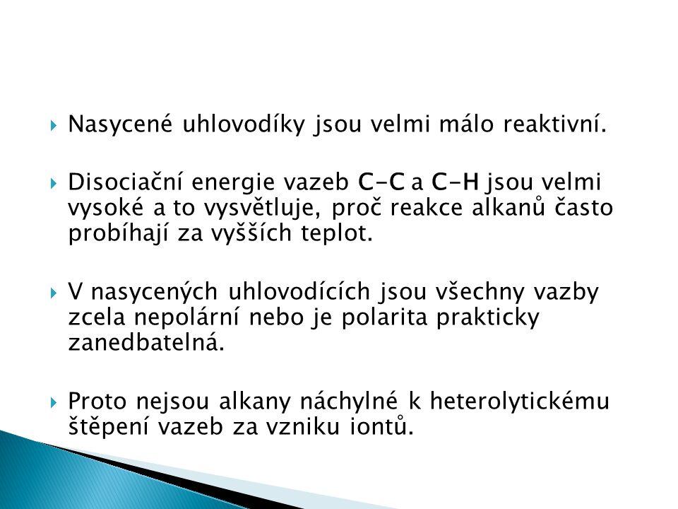  Nasycené uhlovodíky jsou velmi málo reaktivní.  Disociační energie vazeb C-C a C-H jsou velmi vysoké a to vysvětluje, proč reakce alkanů často prob
