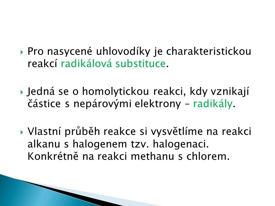  Pro nasycené uhlovodíky je charakteristickou reakcí radikálová substituce.  Jedná se o homolytickou reakci, kdy vznikají částice s nepárovými elekt