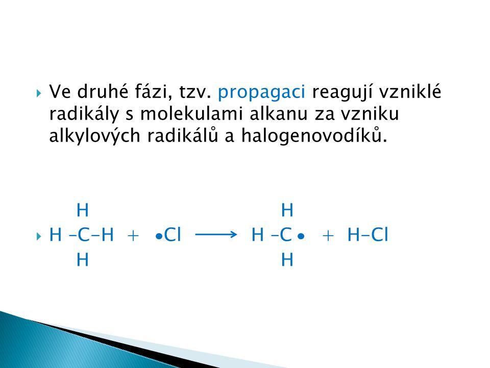  Ve druhé fázi, tzv. propagaci reagují vzniklé radikály s molekulami alkanu za vzniku alkylových radikálů a halogenovodíků. H H  H –C-H + Cl H –C +