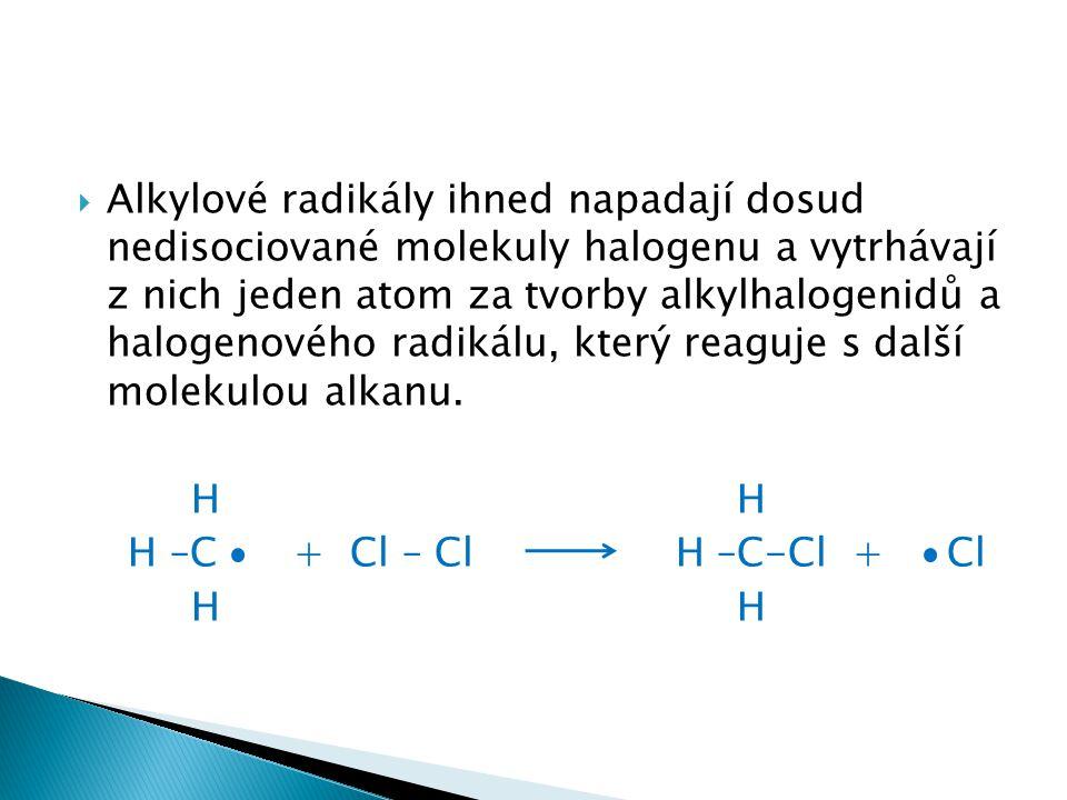  Alkylové radikály ihned napadají dosud nedisociované molekuly halogenu a vytrhávají z nich jeden atom za tvorby alkylhalogenidů a halogenového radik