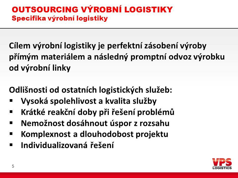 OUTSOURCING VÝROBNÍ LOGISTIKY Specifika výrobní logistiky 6 Očekávané výstupy  Odvislé od prvotních cílů  Orientace na hlavní činnost podnikání  Zprůhlednění procesů  Zlepšení ekonomických ukazatelů Požadavky na dodavatele  Kvalita, flexibilita a proaktivní přístup  Technické vybavení  Blízkost