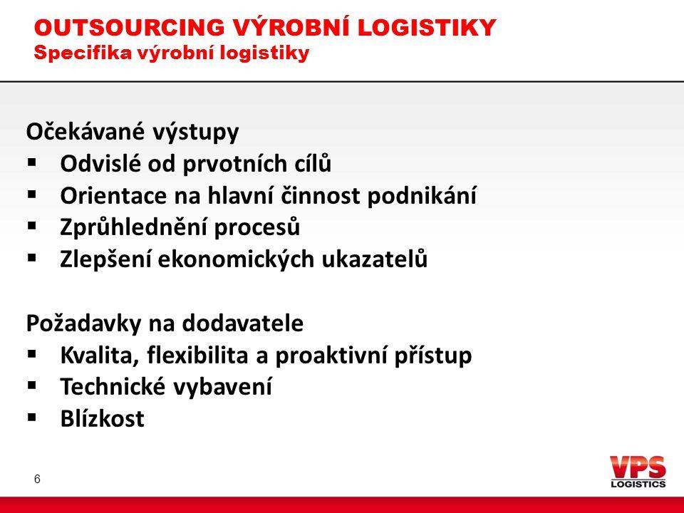 OUTSOURCING VÝROBNÍ LOGISTIKY Specifika výrobní logistiky 6 Očekávané výstupy  Odvislé od prvotních cílů  Orientace na hlavní činnost podnikání  Zp