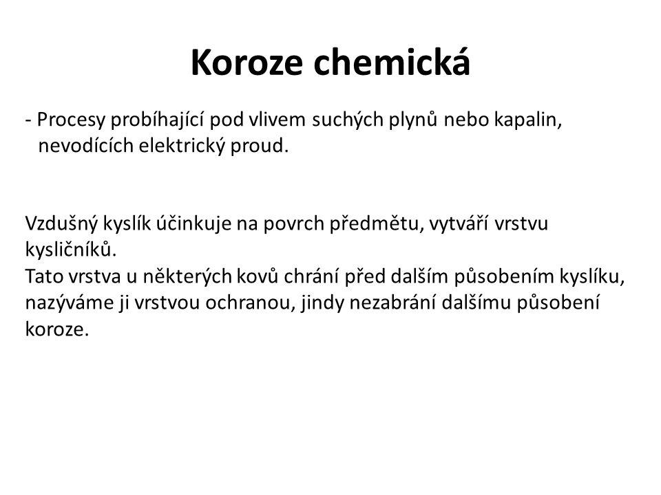 Koroze elektrochemická - Nastává tehdy, stýkají-li se kovy s vodnými roztoky solí, vodícími elektrický proud.