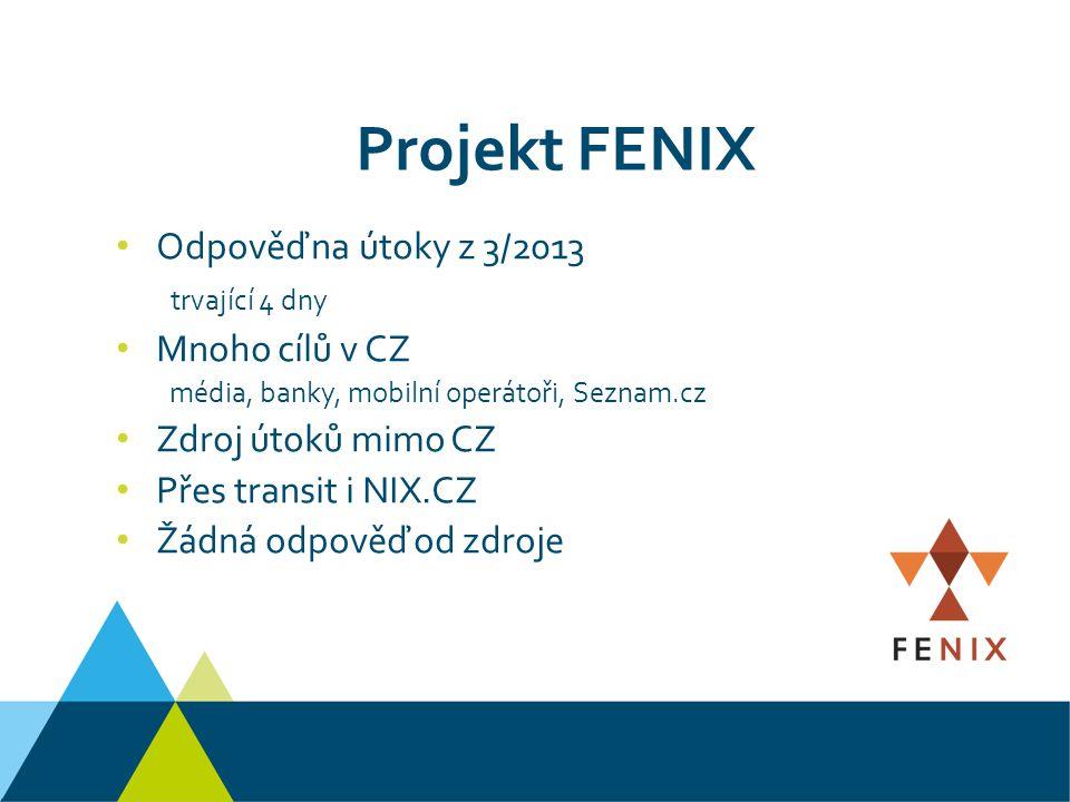 Odpověď na útoky z 3/2013 trvající 4 dny Mnoho cílů v CZ média, banky, mobilní operátoři, Seznam.cz Zdroj útoků mimo CZ Přes transit i NIX.CZ Žádná odpověď od zdroje Projekt FENIX