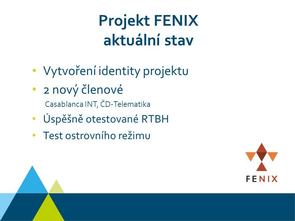 Projekt FENIX aktuální stav Vytvoření identity projektu 2 nový členové Casablanca INT, ČD-Telematika Úspěšně otestované RTBH Test ostrovního režimu