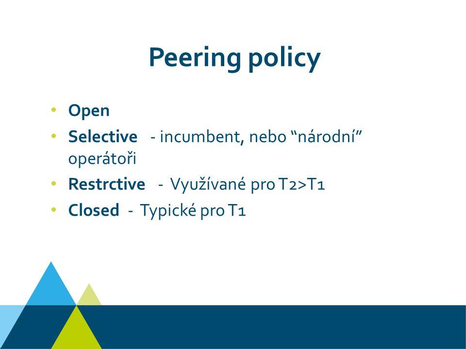 Peering policy Open Selective - incumbent, nebo národní operátoři Restrctive - Využívané pro T2>T1 Closed - Typické pro T1