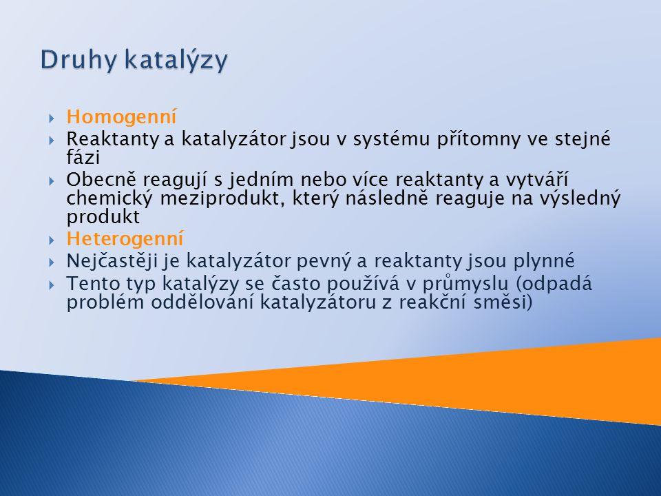  Homogenní  Reaktanty a katalyzátor jsou v systému přítomny ve stejné fázi  Obecně reagují s jedním nebo více reaktanty a vytváří chemický meziprodukt, který následně reaguje na výsledný produkt  Heterogenní  Nejčastěji je katalyzátor pevný a reaktanty jsou plynné  Tento typ katalýzy se často používá v průmyslu (odpadá problém oddělování katalyzátoru z reakční směsi)