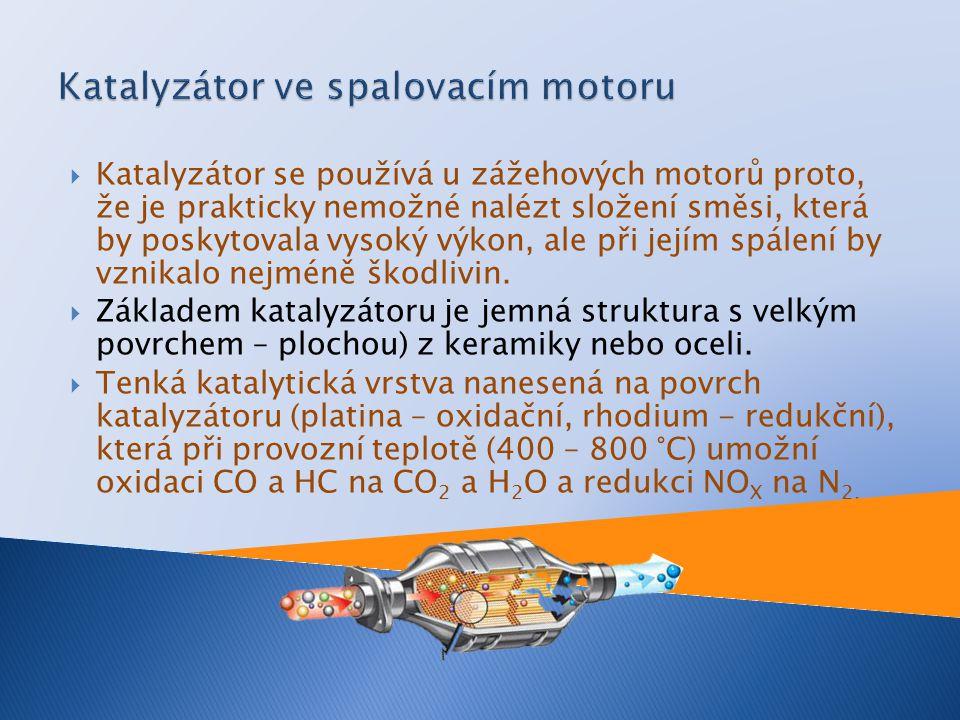 Katalyzátor se používá u zážehových motorů proto, že je prakticky nemožné nalézt složení směsi, která by poskytovala vysoký výkon, ale při jejím spálení by vznikalo nejméně škodlivin.