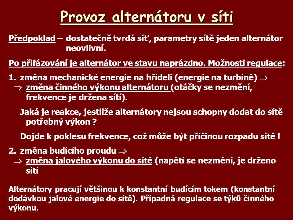 Provoz alternátoru v síti Předpoklad –dostatečně tvrdá síť, parametry sítě jeden alternátor neovlivní. Po přifázování je alternátor ve stavu naprázdno