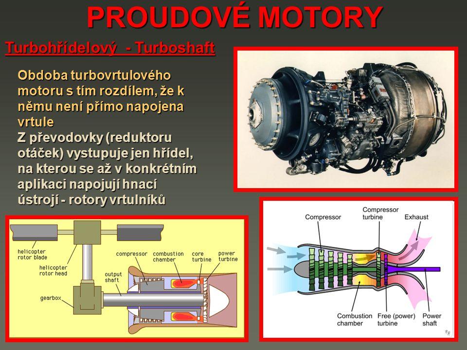 PROUDOVÉ MOTORY Turbohřídelový - Turboshaft Obdoba turbovrtulového motoru s tím rozdílem, že k němu není přímo napojena vrtule Z převodovky (reduktoru otáček) vystupuje jen hřídel, na kterou se až v konkrétním aplikaci napojují hnací ústrojí - rotory vrtulníků