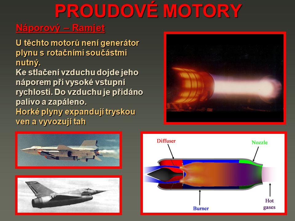 PROUDOVÉ MOTORY Náporový – Ramjet U těchto motorů není generátor plynu s rotačními součástmi nutný.